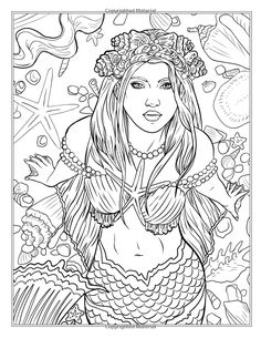 Mythical Mermaids - Fantasy Adult Coloring Book (Fantasy Coloring by Selina) (Volume Mermaid Coloring Pages, Coloring Pages To Print, Coloring Book Pages, Printable Coloring Pages, Kids Coloring, Mermaid Drawings, Colorful Drawings, Zentangle, Moon Witch