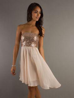 Short Damas Dresses - Short: Champagne, High-Low Dress