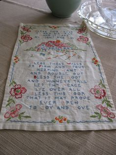 Beautiful Vintage Linen Hand/Embroidered Small Wall by yutch50, via Etsy.