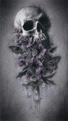 Skull and flowers Skull Rose Tattoos, Body Art Tattoos, Sleeve Tattoos, Tatoos, Wallpaper Caveira, Tattoo Manche, Gott Tattoos, Tattoo Caveira, Badass Skulls