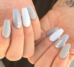 Gray & embellished coffin nails