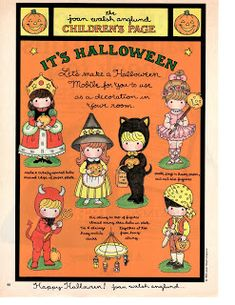 Miss Missy Paper Dolls: Joan Walsh Anglund Halloween Doodle, Halloween Clipart, Vintage Halloween, Paper Halloween, Holidays Halloween, Halloween Treats, Halloween Decorations, Cute Crafts, Crafts To Make
