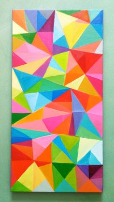 Abstract Painting (Colored Triangles, acrylic painting: blue red yellow green pink orange)