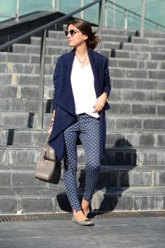 polka pants + white t-shirt/blouse + navy blue wool jacket