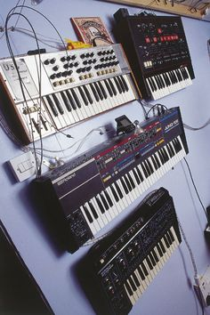 Synthesizers pinned to a wall ~ if you like them this way ... #electronicmusic #synthesizer #instruments #electroacoustic #sound #synthesis