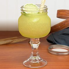 Even better than the Redneck Wine glass .... Mason Jar Margarita Glass. Might have to make some of these.