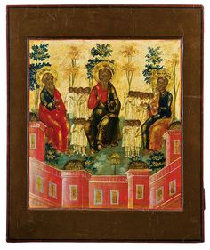 Three Patriarchs in Paradise (Holy Forefathers Abraham, Isaac, and Jacob) (18th c., Russia, priv. coll.) -