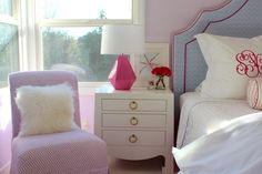 Slipper chair and side table = LOVE #biggirlroom  {Nicole from PN's pick}