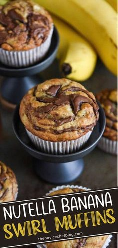 Look no further than the ultimate sweet breakfast treat! Nutella Banana Swirl Muffins can be whipped up in 30 minutes from start to finish. Your family will love these classically delicious banana muffins swirled with chocolate Nutella! Pin this recipe for later! Nutella Recipes, Chocolate Recipes, Cobbler, Sorbet, Sweet Breakfast, Breakfast Ideas, Nutella Muffins, Cheesecake, Baking Recipes