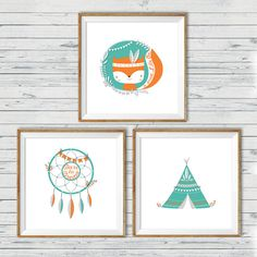 Fox nursery art, Instant download, 10x10, Set of 3, Tribal nursery art, Woodland…