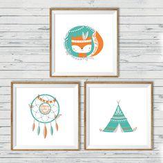 Fox nursery art, Instant download, 10x10, Set of 3, Tribal nursery art, Woodland…