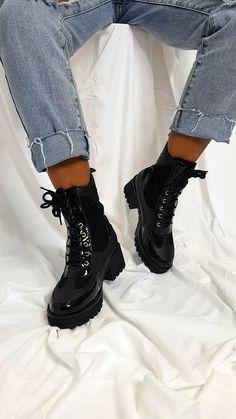 Combat Boots Heels, Combat Boot Outfits, Cute Ankle Boots, Black Ankle Boots, High Heel Boots, Cute Shoes, Heeled Boots, Shoe Boots, High Heels