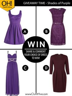 4 Purple Dresses: Re-pin to WIN    1. Re-Pin 2. Comment (Which Dress would you choose?)  3. Follow us on Pinterest  Once we reach 3000 shares we will pick our winner.