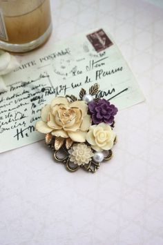Vintage Inspired Brooch Gold Tipped Ivory Rose