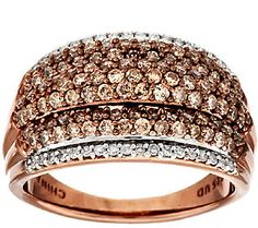 Champagne Diamond Ring Chocolate Silver, 1 cttw by Affinity