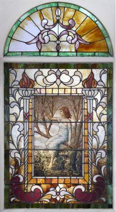 ART NOUVEAU PAINTED & LEADED GLASS WINDOW : Lot 121002