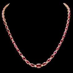 14k 26.10ct Tourmaline 1.60ct Diamond Necklace : Lot 229C
