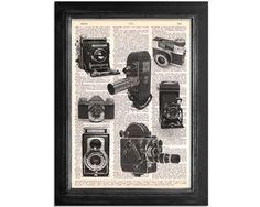 Vintage Camera Collage of Black & White by VintageDictionaryArt