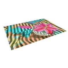 """S. Seema Z """"Lilly n Stripes"""" Pink Orange Indoor / Outdoor Floor Mat   KESS InHouse"""