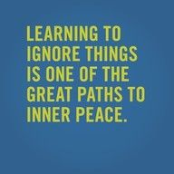 Learning to ignore things is one of the great paths to inner place #quotes