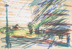 Frank Auerbach (British, b. Pencil and pastel, 23 x cm. Urban Landscape, Landscape Design, Frank Auerbach, Urban Sketchers, Naive Art, Art Portfolio, Illustrations, Painting & Drawing, Landscape Paintings