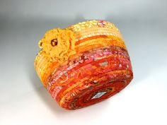 Clothesline Basket - Ombre Sunshine Orange Peach Gold Yelloq -  Handmade Batik Coiled Rope Organizer - OOAK - Fiber Art by Sally Manke by SallyManke on Etsy