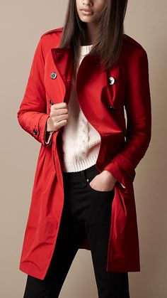 77c380b65021 Mid-length Gathered Skirt Trench Coat Red Trench Coat