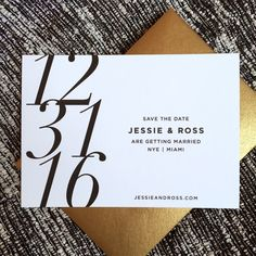 Bold and graphic New Year's Eve wedding save the date. A chic and festive design without all the clock motifs and glitter. From Bonomo Paper Co.