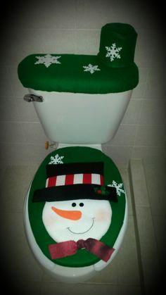 Juego de baño verde muñeco de nieve