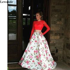 Floral Printed Two Piece Prom Dress Lace Long Sleeve Open Back Satin Pageant Evening Gown Lewande A-line Flower Pattern Skirt