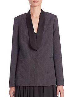 Brunello Cucinelli Silk-Lapel Wool & Linen Jacket - Grey - Size 4