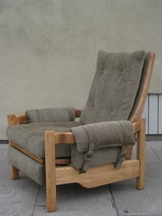 Mid-Century Unusual Solid Ash Recliner   From a unique collection of antique and modern lounge chairs at https://www.1stdibs.com/furniture/seating/lounge-chairs/