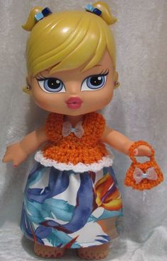 "BIG BRATZ BABYZ 12"" Doll Clothes #05 Handmade Top, Skirt & Purse Tropical Set #HandmadebyESCHdesigns"