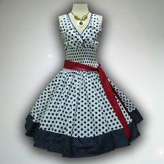 Wish | Retro White Polka Dot 50s Pin up Rockabilly Swing Dress Mini Swing Skirt size S-M