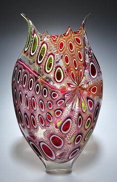 Ruby, Lime, and Cherry Foglio Art Glass Vessel by David Patchen.... I'm in love!