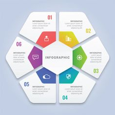 hexagon infographic template with six options for workflow layout, diagram, annual report, web design Premium Vector Web Design, Slide Design, Design Trends, Design Art, Diagram Design, Powerpoint Design Templates, Resume Templates, Layout, Infographic Templates