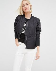 Cheap Monday Quilted Bomber Jacket at ASOS. Black Bomber Jacket, Cheap Monday, Skinny, Casual Wear, Jeans, Jackets For Women, Asos, Coat, How To Wear