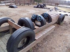 Clever use of old used tires for playground use by kids.