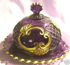 PURPLE CROESUS BUTTER DISH -RIVERSIDE GLASS COMPANY