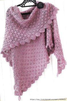 Modèle gratuit : un joli châle au crochet (Mes favoris tricot-crochet) Crochet Shawls And Wraps, Knitted Shawls, Crochet Scarves, Crochet Clothes, Crochet Dresses, Gilet Crochet, Crochet Baby, Free Crochet, Crochet Blouse