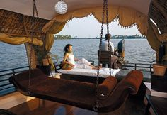 Backwaters of Kerala in these beautiful houseboats.