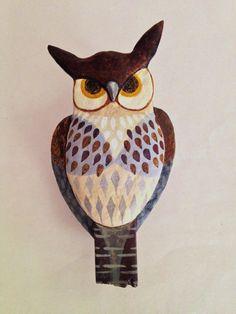"Handsome Owl, Ulla Anobile, Paper mâché, wood, acrylics 8 1/2"" x 4 1/2""- SOLD"
