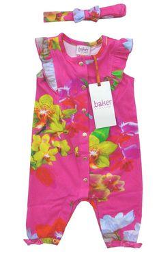 5f553415adf6 Ted Baker Baby Girls Romper Sleepsuit Floral Headband Pink Newborn Gift 0-3  M