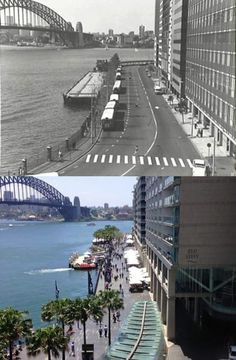 East Circular Quay viewed from the Cahill Expressway in 1970 and - City of Sydney Archives - Phil Harvey. By Phil Harvey] Sydney City, Sydney Harbour Bridge, Phil Harvey, Old Things, Nice Things, Amazing Pics, Historical Architecture, Historical Pictures, Old Photos