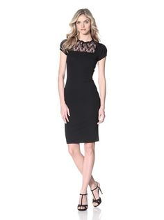 RED Valentino Women's Lace Yoke Dress (Black)