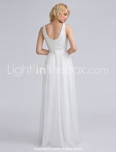 Lanting Bride® Floor-length Chiffon / Lace Bridesmaid Dress Sheath / Column Bateau Plus Size / Petite with Lace / Sash / Ribbon 2016 - £51.65