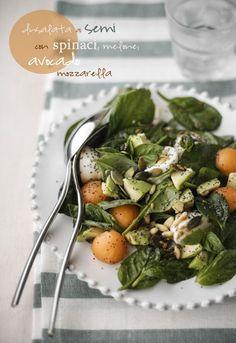 - VANIGLIA - storie di cucina: Insalata ai semi con spinaci, avocado, melone e mo...