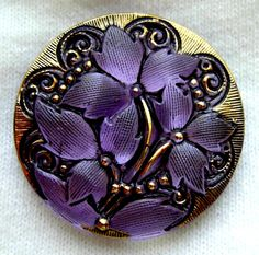 Czech glass button,  lavender reverse painted | ButtonOdyssey on Etsy