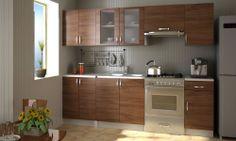 Einbauküche 240 cm Küchenzeile Küchenblock Kitchen Set Küchenset Hellbraun#S