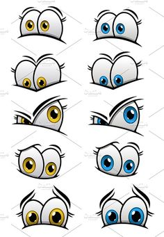 Drawing Eyes Expression Cartooned eyes with emotions Graphics Cartooned eyes with blue and yellow iris and different emotions for characters or comics design. In by Vector Tradition SM Graffiti Art, Graffiti Cartoons, Graffiti Characters, Graffiti Drawing, Graffiti Lettering, Cartoon Kunst, Cartoon Drawings, Cartoon Art, Art Drawings